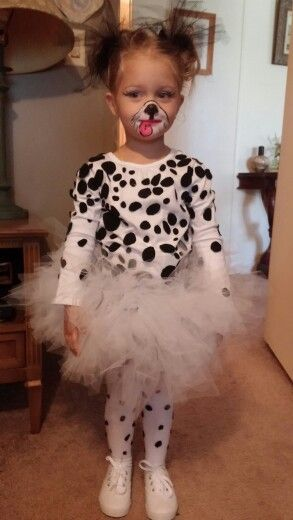 DIY Dalmatian Costume. I made this in a few hours using a long sleeve shirt, tights, felt, glue and tulle tied to a ribbon for the tutu. Only took a few hours and got so many compliments on it. Let me know if interested in directions.