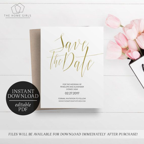 Save The Date Gold Foil Printable  Rose Gold Foil  Gold