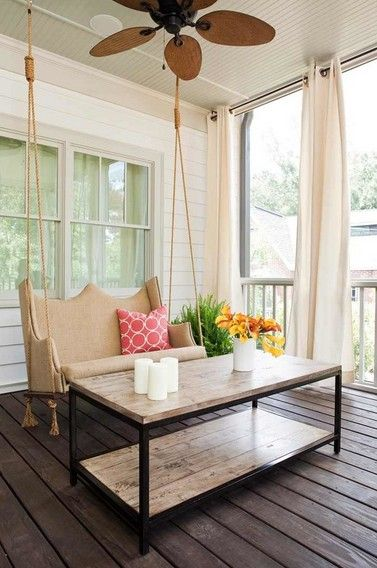 Contemporary Porch With Screened Porch, Nedmac Outdoor Ceiling Fan, Box  Frame Coffee Table, Porch Swing, Outdoor Curtains