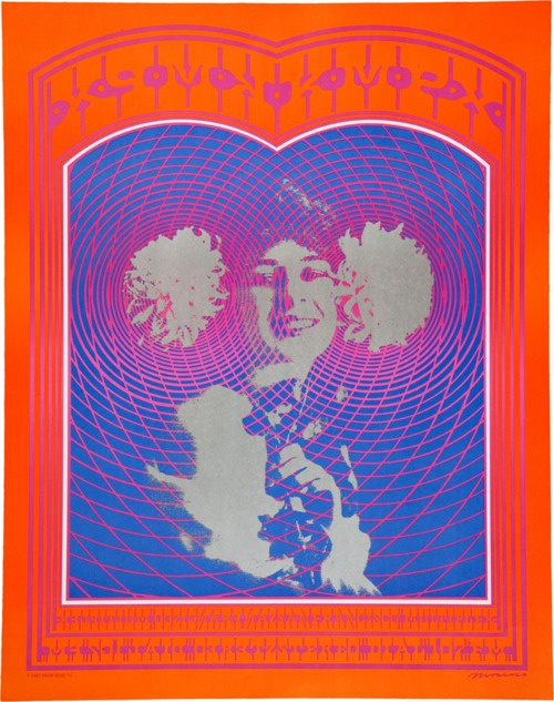 "Psychedelic Poster (Neon Rose, 1967) Large posters from Neon Rose, the design company formed by Victor Moscoso: NR-20/B1 (mistakenly printed ""NR- 15""), a KMPX Radio Station poster, measuring approximately 22"" x 28"" (second printing, with ""see-through"" silver ink).Lights Posters, Psychedelic Posters, Large Posters, Music Posters, Stations Posters"
