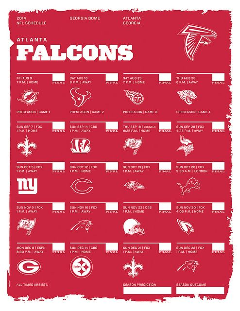 Atlanta Falcons 2014 NFL Schedule by kishcollageit, via Flickr