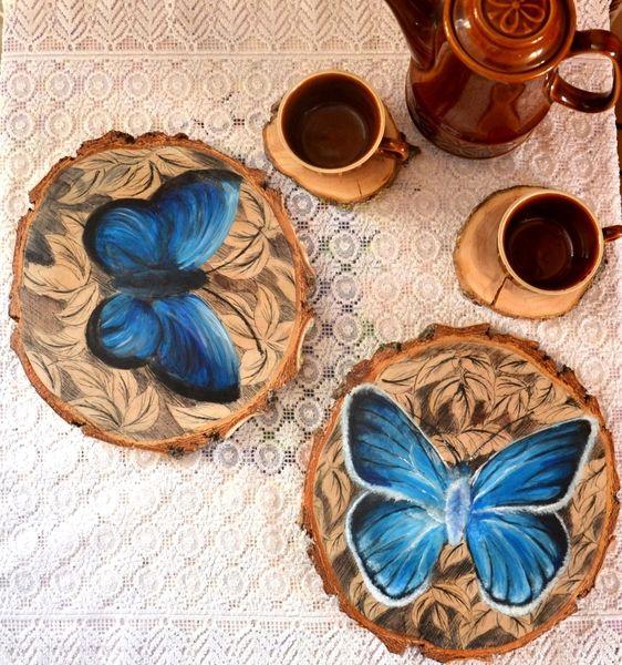 malowane komplet podstawek pod talerze 2szt w KREDKA Pracownia artystyczna na DaWanda.com