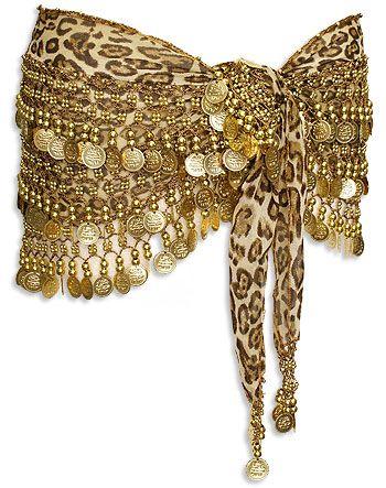 Leopard Print Crochet Bead & Coins Belly Dance Hip Scarve
