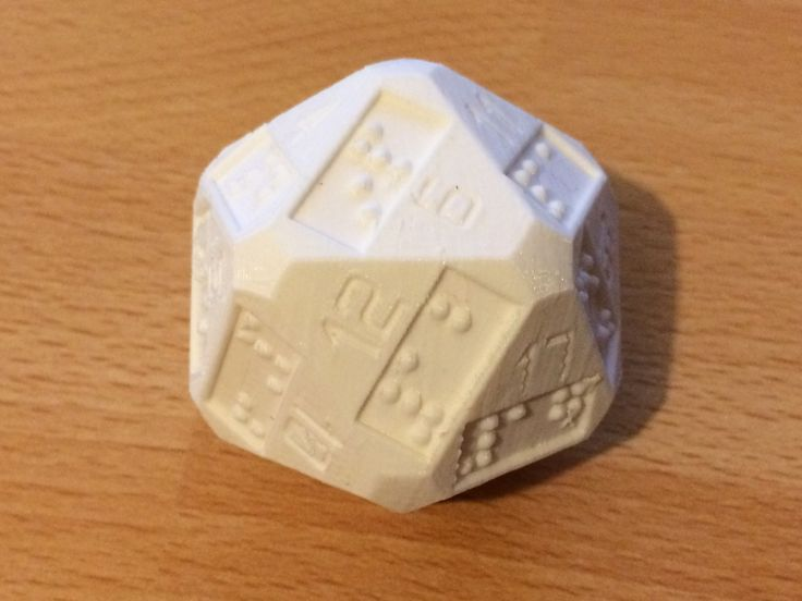 D20 (20 sided dice) with additional braille numbers by idellwig.