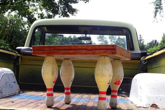 Bowling Lane Furniture | eco furniture: reclaimed bowling alley and bowling pin table