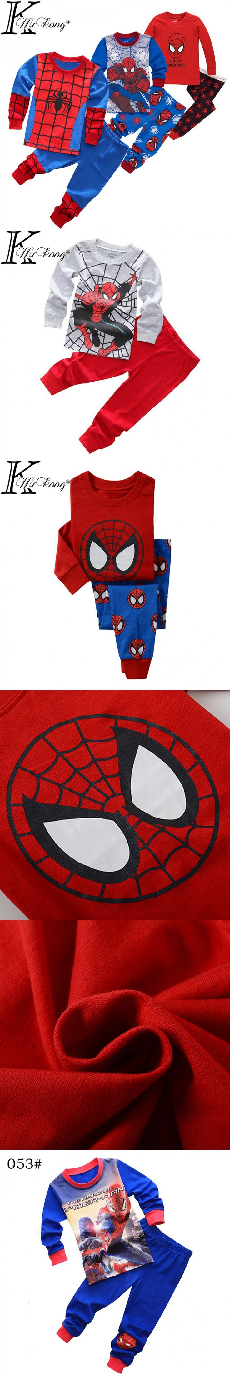 Spiderman cotton kids clothes long sleeve toddler boys clothing set pyjamas kids boy&girl homem aranha vetement garcon