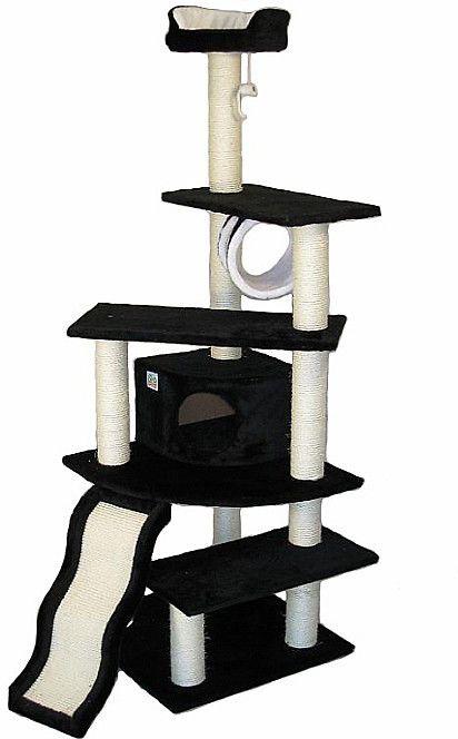 """Go Pet Club 70"""" Tall Black Cat Tree Condo Furniture, 70-in Black Cat Tree"""