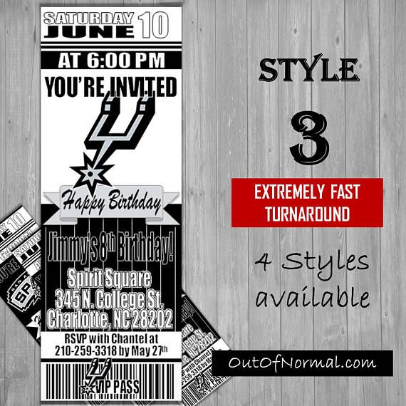 San Antonio Spurs Themed Birthday Invitation Tickets  NBA