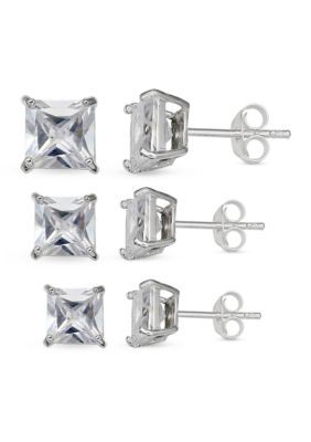 Belk Silverworks Women Simply Sterling Silver Trio Princess Cut Cubic Zirconia Stud Earrings Set - Silver - One Size