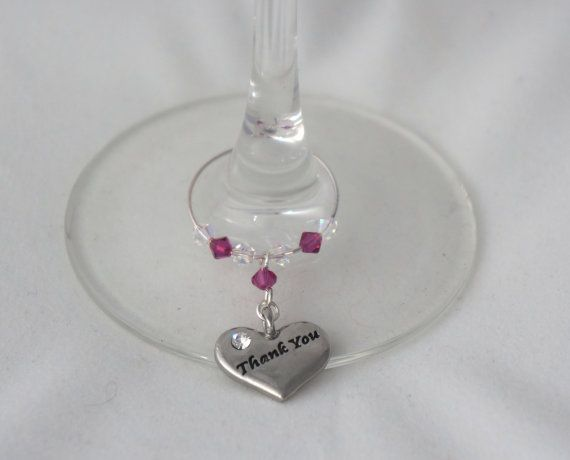 Wine Glass Charm  Thank You  Wedding Favours by Makewithlovecrafts, £5.50