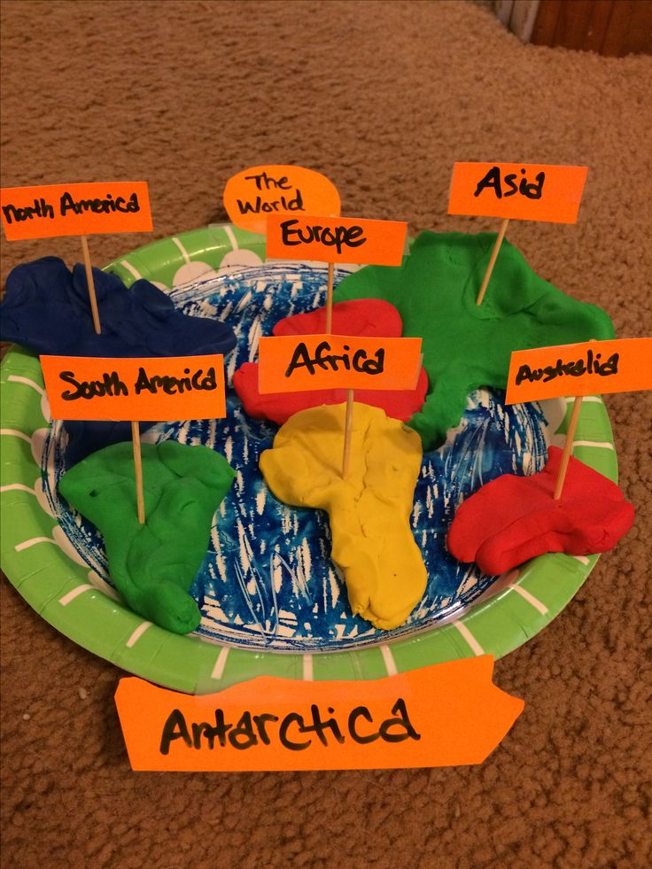 Map of continents made with clay and other materials. Geography and Art standards met.