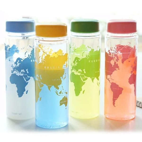 Travel World Map - Water Bottle  Remind yourself what you're saving when you drink from this water bottle decorated with a map of the world.     A must-have for every traveller! Take your own water bottle with you. It really pimps your travel luggage and never leaves you with a dry mouth. With this beautiful water bottle, you'll be prepared for any hiking trip, city sightseeing or beach day!    Available in 4 different colours!  www.therealnomad.com