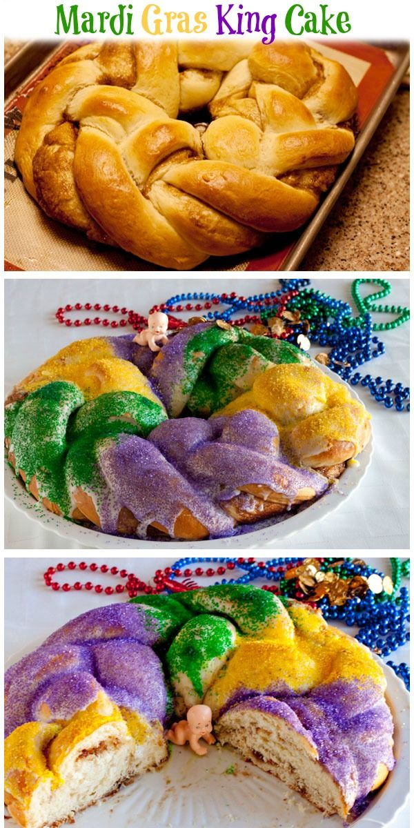 Mardi Gras King Cake - A giant sweet roll baked in a circle and decorated with icing and purple, green and gold sugars. Kind of like a crown shaped cinnamon roll all dressed up for a party.