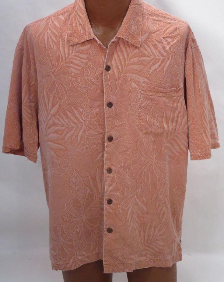 Tommy Bahama Light Rust Silk Camp Shirt Xl