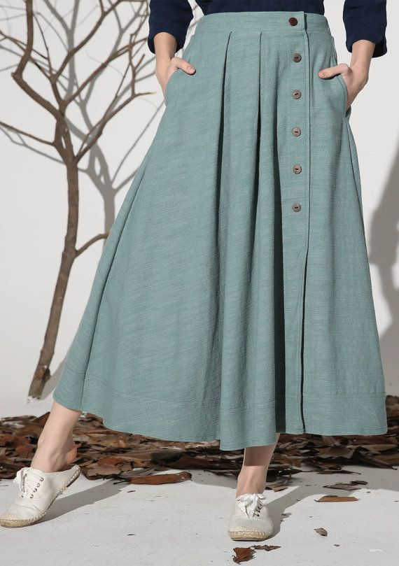 Details: * Maxi linen skirt * Some buttons on the front side * Two pockets on each side * The back waist has elastic and can strench * Spring skirt * Size * Please check the detail size before you place an order Length:82 cm SIZE GUIDE Available in women's US sizes 2 to 18, as well as custom size and plus size. Size chart PDF https://img1.etsystatic.com/117/0/7768512/icm_fullxfull.88761713_kppuw4pg028c0wso0ckk.pdf PHOTO https://img0.etsystatic.com/106/0/7768512/icm_fullxfull.84716330_la...