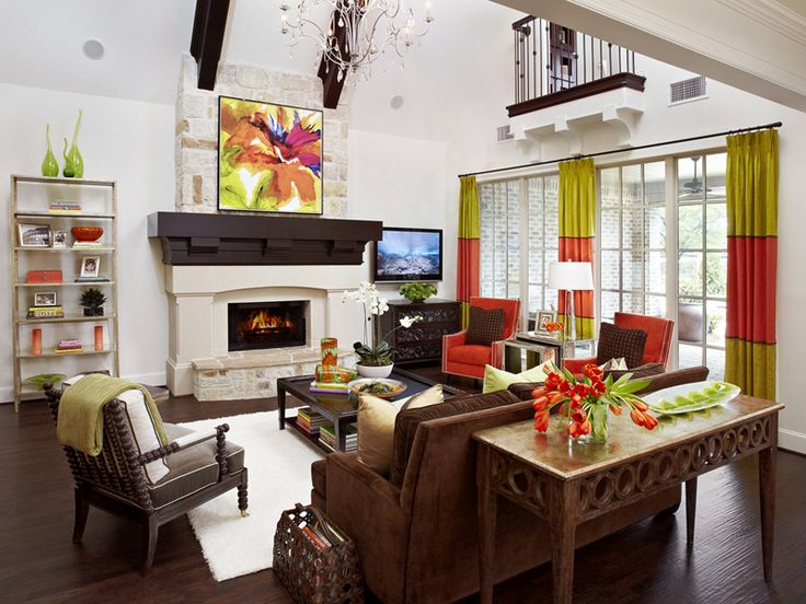 Love The Punch Of Color In This Family Room Accents Are Best