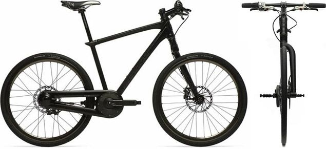The Cannondale OnBike (£4,000; roughly $6,150) exemplifies this idea, albeit at an astronomical price. Limited to a run of just 250, the stealthy OnBike features a fully enclosed drivetrain with a custom SRAM i-MOTION 9-speed hub gear and disc brakes, a handmade aluminum frame, Octopus pedals, and Schwalbe Kojak Bad Boy tires.