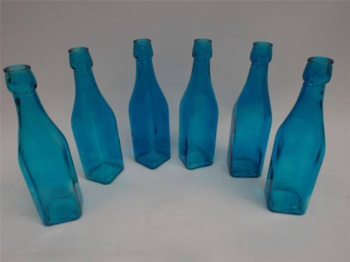 SET-OF-6-BLUE-BOTTLES-GLASS-VASE-FLOWER-FLOWERS-ORNAMENT-HOME-DECOR-ACCESSORY