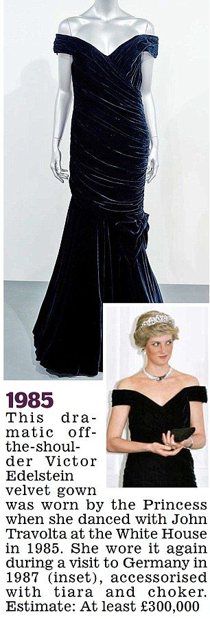 To be auctioned again - Diana dress, 1985, that she wore when she danced with John Travolta at the White House
