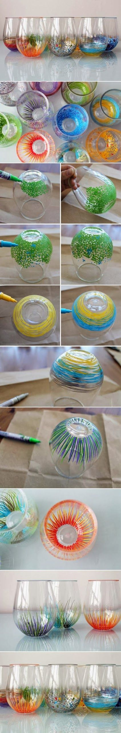 DIY: Wine glass. This would be perfect for a wine party.