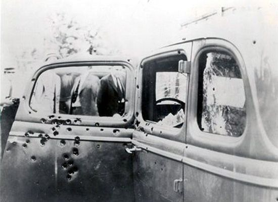 The bullet ridden car of Bonnie and Clyde