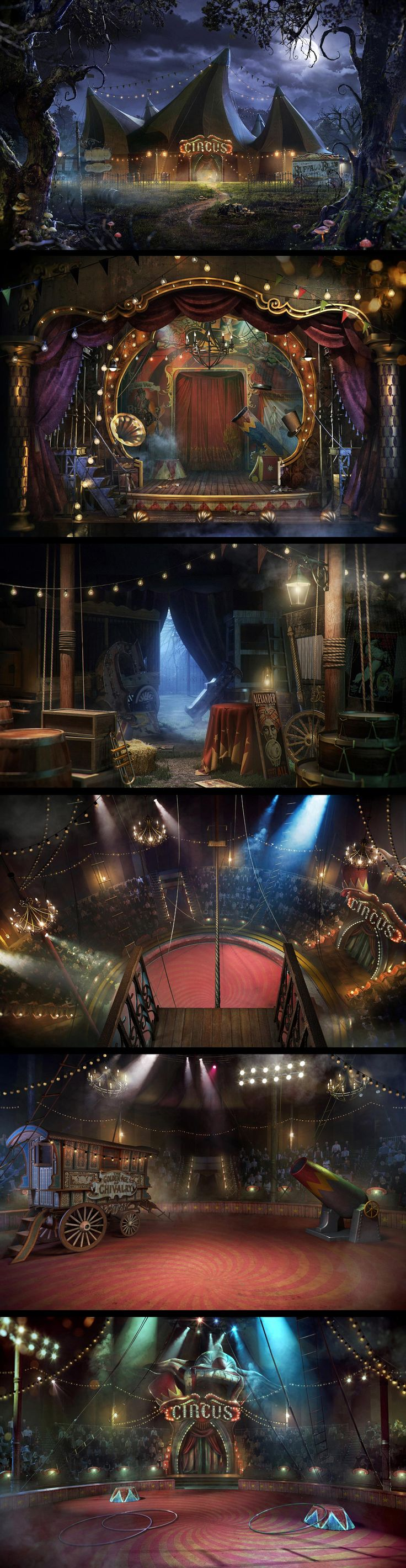 "Circus by MatteDesign студия дизайна ""llustrations for the project The Circus (Company ""MegaFon"")"" (a Russia online game?) http://zarkana.megafon.ru/cirque/ Great example of the look and feel we would like to achieve. Note the slightly surreal elements like the off kilter peaks of the big top. and the jewel tone color pallette. - J"
