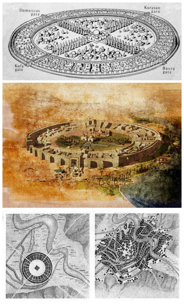 "The first nucleus of the city of Baghdad was the ""Round City"" (Madinat al-Salam) founded by the Abbasid caliph al- Mansur in 762 AD and completed in 766 AD on the west bank of the Tigris in a strategic location in the middle of Mesopotamia."