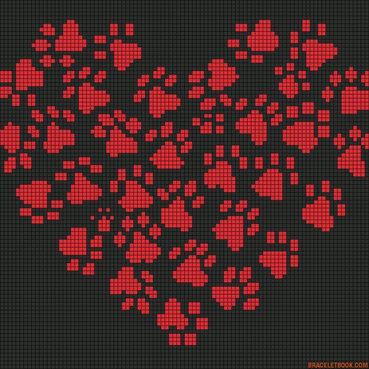 Cross-stitch Heart of Paws Alpha Friendship Bracelet Pattern #10790 - BraceletBook.com