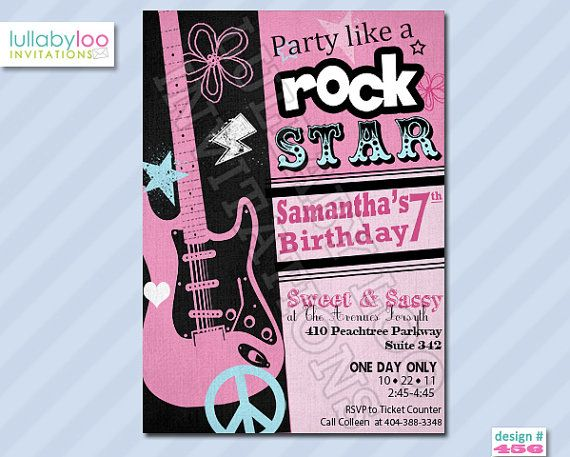 8 best Rock Star Invitations images on Pinterest Rock star