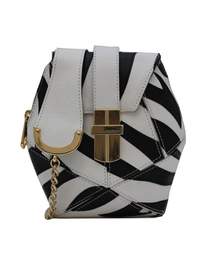 SALE! ANGEL JACKSON ZEBRA ATOMIC BOX BAG IN BLACK AND WHITE @MyVioletHill.com £161.25
