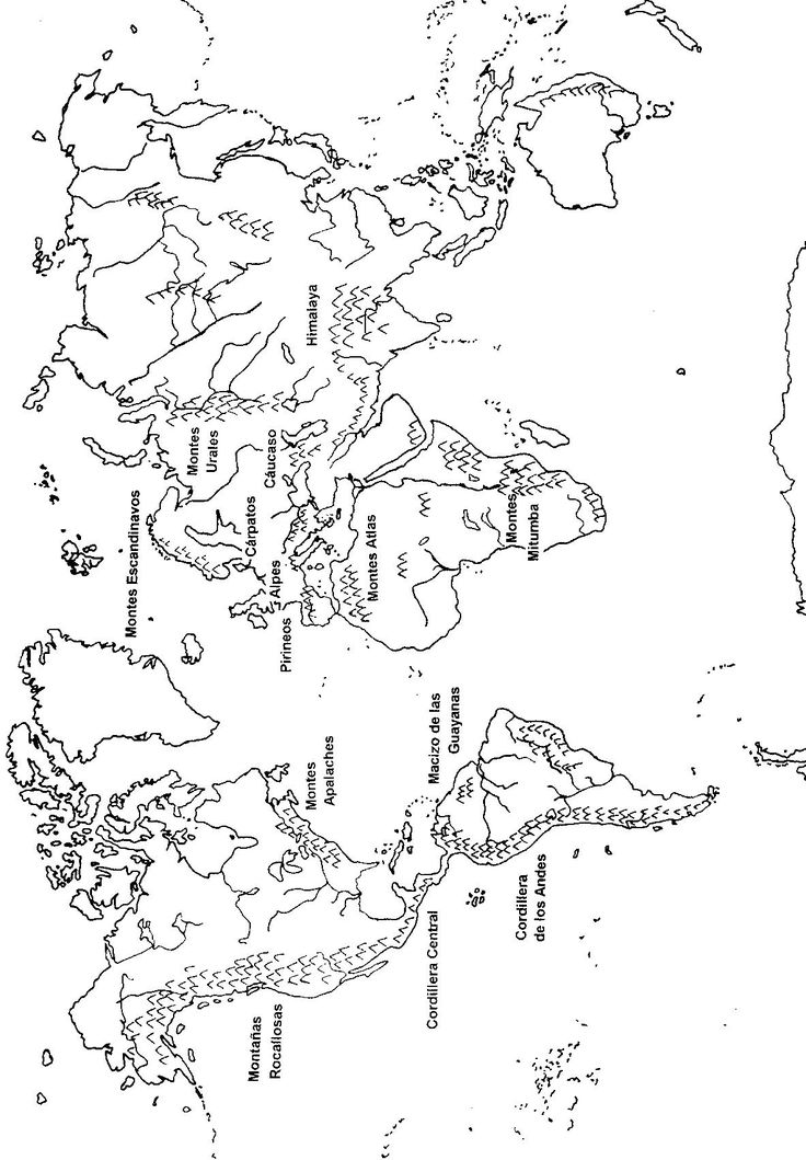 Mapamundi con las cadenas montañosas más importantes indicadas con sus nombres (vertical) | Educando Juntos