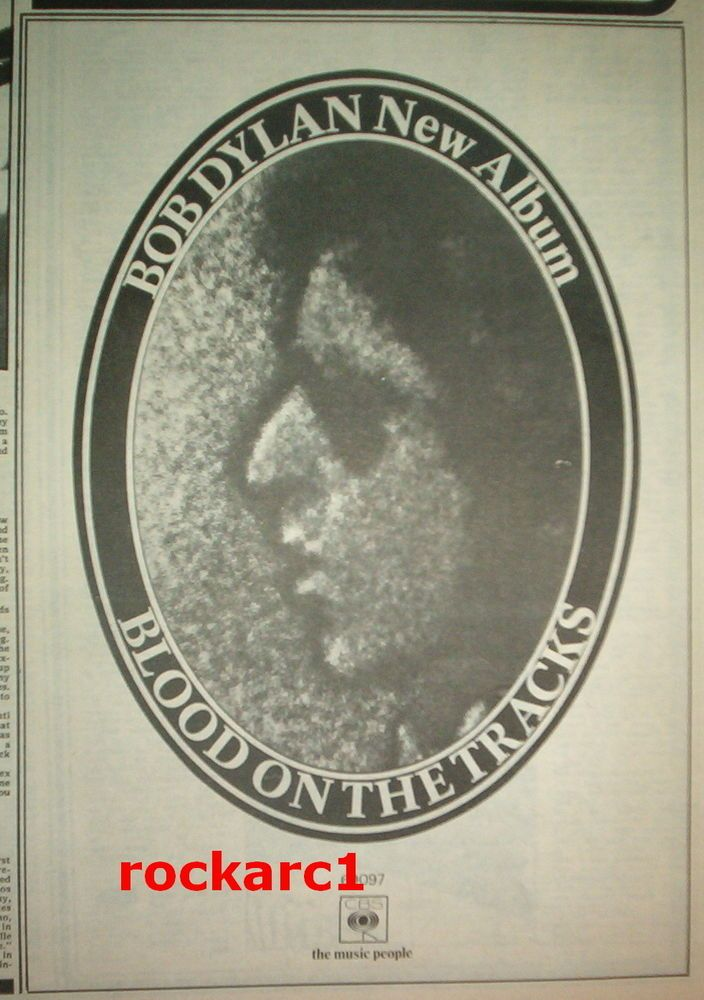 BOB DYLAN Blood On The Tracks 1975 UK Press ADVERT 10x7 inches
