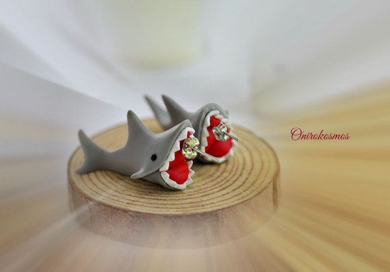 Lovely Cartoon Handmade 3D Shark Biting Ears Polymer Clay Stud Earrings!
