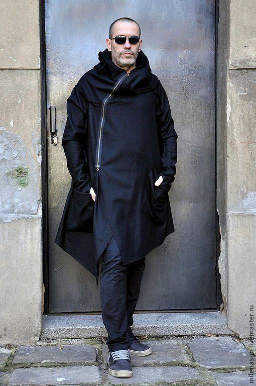 Купить Кашемировое мужское пальто Assymetric - черный, черное пальто, мужское пальто, пальто для мужчин