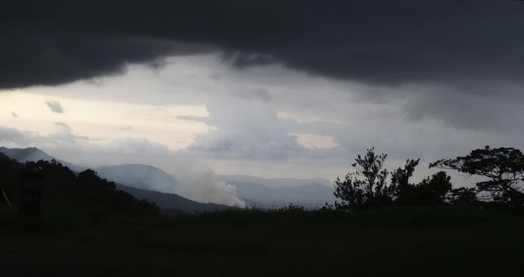 Dark clouds overhead brought hail and 20 ml rain in first storm! Should cool things down a little! #weather #Queensland #Eungella