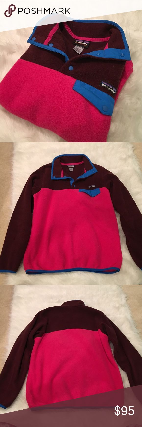 Patagonia Fleece Women's Patagonia synchilla fleece. Very good condition. 100 polyester. Pink, maroon, and blue. ONLY SALE, NO TRADES. Patagonia Tops Sweatshirts & Hoodies