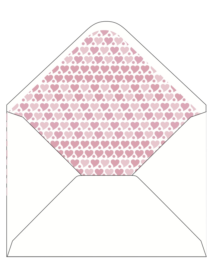 CocoCards: The luxurious touch - hand lined envelopes - pink hearts