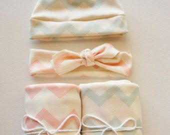 Boy and Girl Chevron Twin Set - Blanket, Newborn Hat, headband - Pink and Blue Chevron - Swaddle Blanket - Organic Cotton Knit - Baby Hat