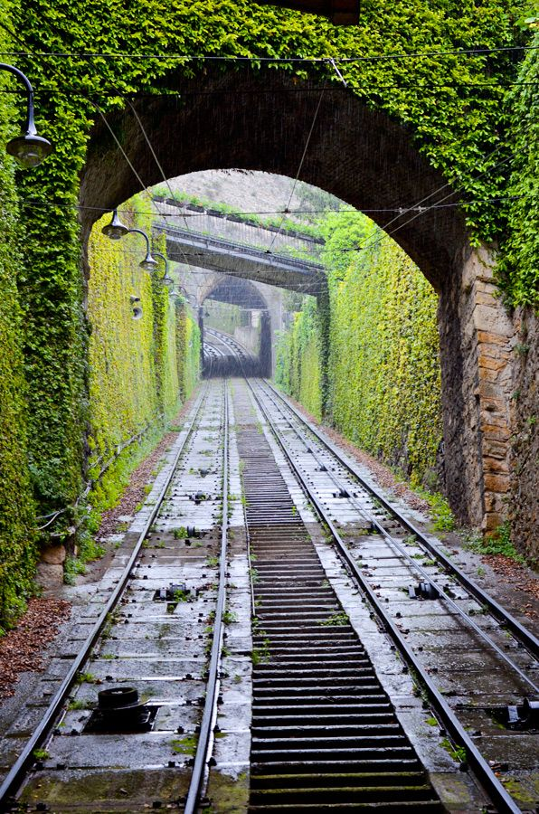 Funicular tracks in Bergamo, Italy. We traveled here May of 2012. What a magical ride! Photo by Sheri Kowalski.