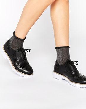 London Rebel Hooper Chunky Lace Up Flat Shoes