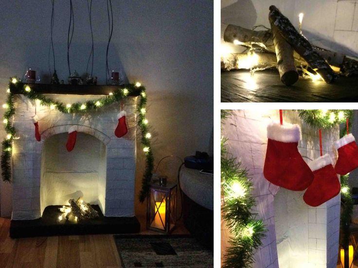 DIY Kamin aus Pappe  #selbermachen #Kartons #upcyling #Weihnachten #deko