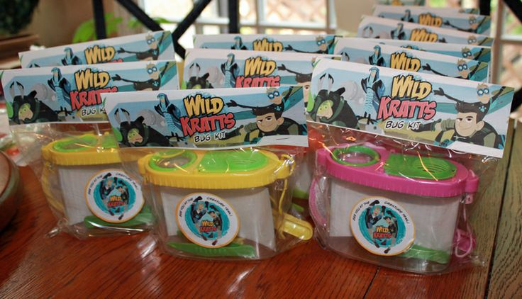 This is part of the goodie bags. I bought some bug kits from the dollar store, they come with a little bucket, net, etc, just printed the Wild Kratts logo in adhesive paper and put in the bucket, printed also the little banner on cardstock white paper.
