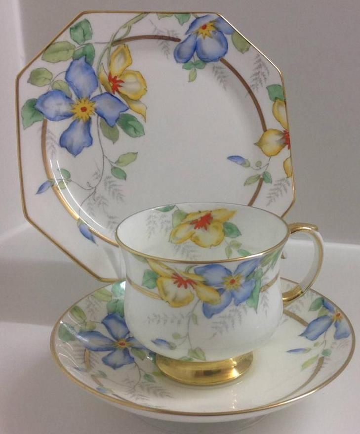 Royal Paragon Art Deco Hand Painted Clematis Pattern English China Tea Set Trio
