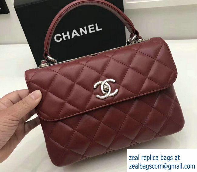 Chanel Trendy CC Small Flap Top Handle Bag A92236 Burgundy Silver 2017 9078b8e8e8051