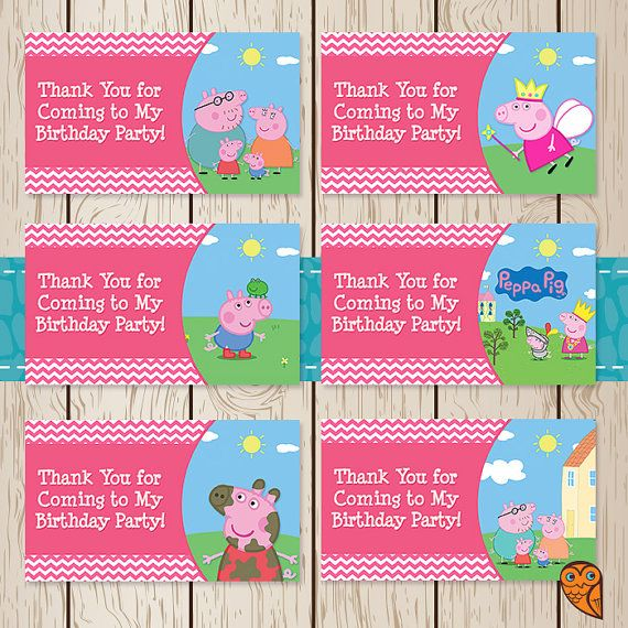 Printable Peppa Pig Birthday Goody Bag Tags by BrightOwlCreatives, $2.00
