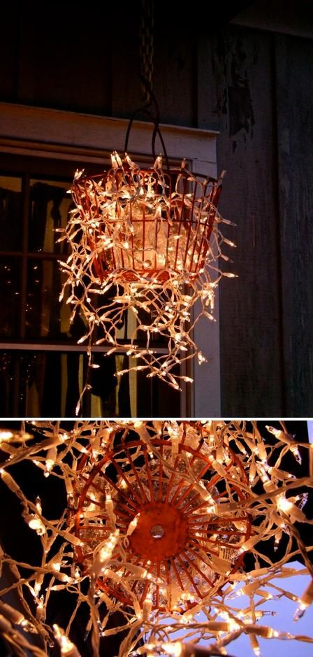 Make a chandelier from an old basket. LOVE THIS. Could also use old hanging basket instead of an egg basket.