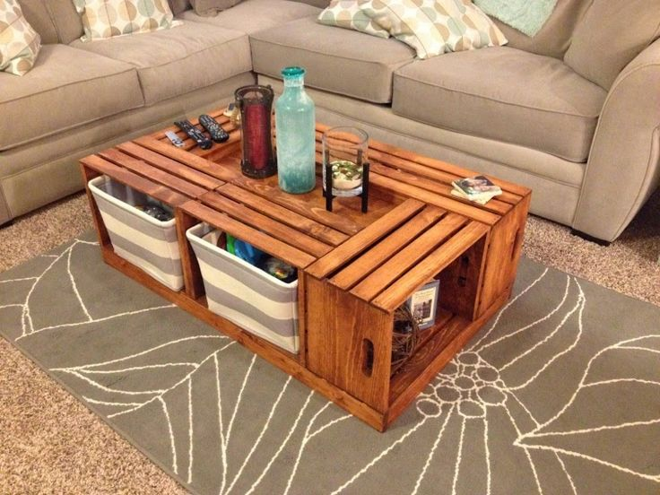 DIY Wine Crate Coffee Table: Altogether, this coffee table project cost us  about