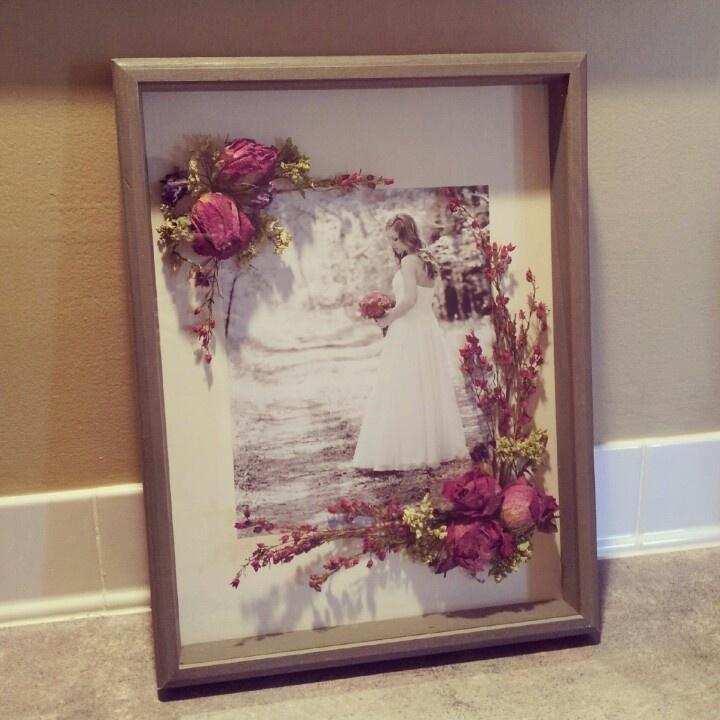 Shadow box using dried wedding bouquet