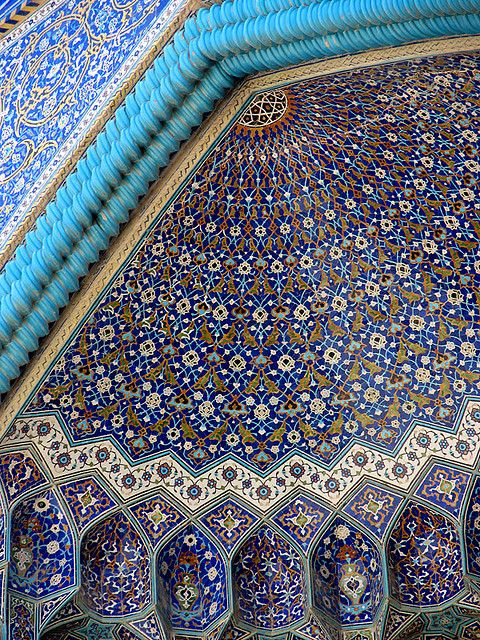 Unique blue tiles of Isfahan's Islamic buildings - Iran