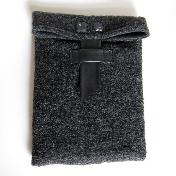 Tablet case. Grey wool recycled bike inner tube and by palepink, kr225.00